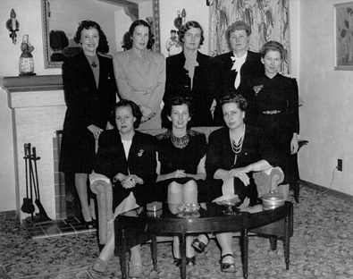 May 1946 SAN DIEGO LSA OFFICERS AND BOARD: Margaret Chapman, Rhoda Valentine Polley, Clara Board, Marian Parks, Lou Troop, Virginia Caperton, Louise Cord, Lillian Imiach